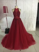 Real Photos Sexy Long Burgundy Tulle Prom Dresses Vestido De...