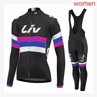 Liv Team Cycling Manica Lunga Jersey (Bib) Pantaloni Pantaloni Set Donne Bike Abbigliamento Bicy-Dry-Dry Poliestere MTB Bicycle Wear SportSy21040711
