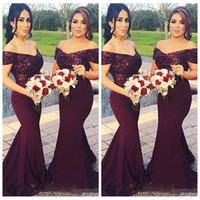 2021 Off Hombro Borgoña Vestidos de dama de honor Lentejuelas Africano Personalizado en línea Maid of Honor Vestidos Vestidos Vestidos Guest Guest Formal Wear