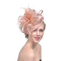 Cappelli del velo del viso per le donne feather da sposa Fascinatori Cappelli da sposa 2019 Newly Biancheria in tulle Donne Party Accessori per capelli Cappelli