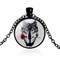 4 Couleurs Rose en Loup Bouche Amour Collier Argent Glold Bronze Noir Temps Gemstone Verre Cabochon Collier Pendentifs Bijoux De Mode