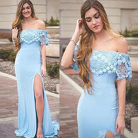 Charming Blue Lace Off Shoulder Mermaid Prom Dresses Sexy Bo...