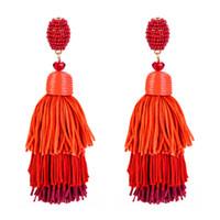 Kadınlar 3 Katmanlı Fringe Küpe Ombre Yığın Püsküller Dangle Küpe Yaz Neon Katmanlı Uzun Püskül Küpe