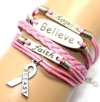 Charms Gewebte Lederarmbänder Glauben Brief Glaube Hoffnung Brustkrebs Bewusstsein Armbänder Mode Persönlichkeit Armbänder Handgemachten Schmuck