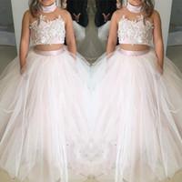 Lindos vestidos florales de dos piezas para niños Vestidos de color rosa y blanco de tul chicas Vestuario de primera comunión Vestido de vestir formal para niños