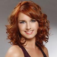 Parrucca sintetica femminile affascinante senza cappuccio di Shaggy ondulata media affascinante di Auburn HairFree shipping Nuova parrucca dell'immagine di modo di alta qualità