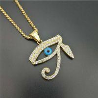 Men vintage Ägypten Das Auge des Horus Anhänger Halsketten Mode Edelstahl mit Strass Hip Hop Halskette männlichen Schmuck Geschenke