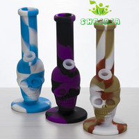 Mini Skull Silicon Water Hookah Bongs Smoking Pipes With Silicone Down Stem & Glass Bowl Portable To Use Dab Rigs DHL 491