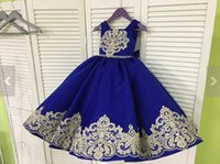 2018 Gold Lace Royal Blue Real Photos Girls Pageant Dresses ...