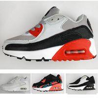 4f511a83e 2018 Nike air max 90 Primavera Otoño Zapatos para Niños 90 Rosa + Rojo +  Negro