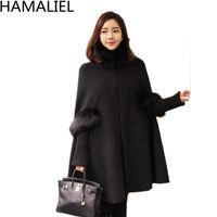 HAMALIEL Donna collo di pelliccia nera mantello di lana 2017 inverno lana di cashmere manica lunga casual poncho caldo plus size cappotto del capo