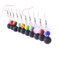 8mm 10mm Colourful Lava Stone Turquoise Earrings DIY Aromath...