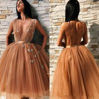 2019 Deep V Neck Prom Dresses with Applique Sexy Open Back Cocktail Party Gowns Short Tulle Graduation Dress