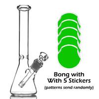 Кальяны классические стеклянные стакан бонг с 5 наклейками около 10 дюймов курить четкие мини прозрачные бонги