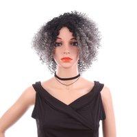 Ombre peluca astilla gris negro corto Afro Kinky pelucas rizadas para mujeres pelucas sintéticas para mujer