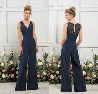 2020 Jasmine Jumpsuits Robes de demoiselles d'honneur V ec col marine foncée Nombre d'honneur Robe Beach Beach Robe de soirée de mariage Vestidos de Novia