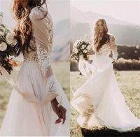 Robes de mariée pays bohème avec pure manches longues col bateau une ligne dentelle appliques en mousseline de soie plage Boho robes de mariée