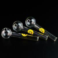 도매 4 인치 스마일 로고 파이렉스 유리 석유 버너 파이프 숟가락 파이프 클리어 색상 액세서리 핸드 파이프 DHL 무료 배송 SW15 흡연
