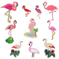 10 Arten Flamingo Patches für Kleidung Kleid Eisen auf Transfer Applique Mode Patches für Jeans Taschen DIY Nähen auf Stickerei Kinder Aufkleber