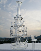 "10"" new glass bong dab rig recycler oil rigs with thick..."