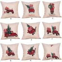 9Models Merry Christmas fundas de almohada 18 x 18 pulgadas ropa de cama de algodón Home Thanksgiving Decoraciones Throw Pillow Case Fundas de cojín Fit Cars sofá
