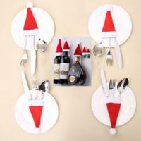 크리스마스 산타 클로스 모자 장식 칼 및 포크에 대 한 맥주 병 포장 모자 결혼식 파티 축제 6 * 12cm WX9-997 캔디 선물 가방