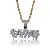 Men' s Iced Out SAVAGE Pendant Necklace Gold Color Micro...