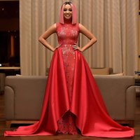 Celebrity Red Mermaid Prom Dress With Overskirt High- Neck Sl...