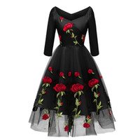 Luxury rose embroidery princess dress summer women ball gown...
