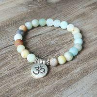 Матовый амазонит камень браслет Strand йога чакра мала браслет браслет лотоса женщины мужчины браслет из бисера ювелирные изделия ручной работы