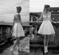 Vintage Ivory Applique Dentelle Courte Robes De Mariée 2018 Moderne Sheer Demi-Manches Pas Cher Une Ligne Bridal Party Robe Illusion Bouton Dos