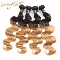 Ombre capelli brasiliani Body Wave 3 Bundle 1b / 4/27 Biondi Capelli umani Tesse le estensioni dei capelli di Remy