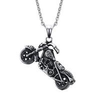 Mens Ghost Rider punk rock colares pingentes de moda de aço inoxidável da motocicleta de jóias homens de prata antigo