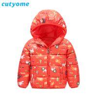 Inverno Ragazze con cappuccio Giacche Cutyome Cartoon Dinosauro / Lions stampato in cotone imbottito caldo trench Cappotti per bambini