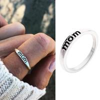 جديد وصول الأزياء سبائك اللكنة أمي خاتم الفضة ليوم الأم هدية الأسرة الحب حجم 6-10