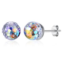 Prata esterlina aurora boreal facetada brincos de bola de cristal de 6mm