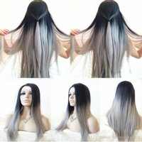 Free Shipping 180% 2 Tones Ombre Gray Long Silky Straight Fi...