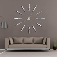 Frameless DIY Wall Clock 3D Mirror Wall Clock Large Mute Sti...