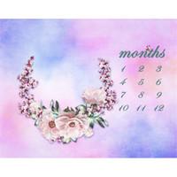 Pastellblau Rosa Aquarell Fotografie Kulissen gedruckt Blumenkranz Baby Neugeborenen Geburtstag Kalender Fotoaufnahme Hintergrund für Studio