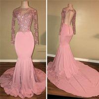 Sheer шеи длинные рукава платья выпускного вечера Mermaid 2020 Sexy Pink Open Назад партии вечера мантий Arabic Специальный случай мантий сшитое