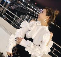 2018 새로운 디자인 패션 여성의 차례 색상 단색 프릴 패치 워크 어깨 지퍼 긴 소매 블라우스 셔츠상의