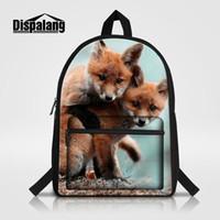الرجال النساء محمول حقيبة الظهر الملونة الثعلب الحيوان الطباعة الأطفال حقيبة مدرسية mochila الأنثوية بارد bookbags لالأولاد الفتيان روجتاس