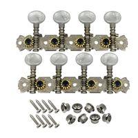 Silver Mandolin Tuning Pegs Machine cabeças 4L + 4R Com Pérola Branca Botões De Plástico 16: 1