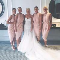 2019 oansatz Hülle kurze Brautjungfer Kleider billig unter 100 Juwelenausschnitt plus Größe Ehre von Mädchen für Hochzeitsfeier Vestidos de Brautjungfern