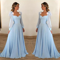 Light Sky Blue Evening Dresses Sweetheart Long Illusion Sleeves Prom Gowns A-Line Tiered Ruffle Sweep Train Custom Made Formal Party Gowns