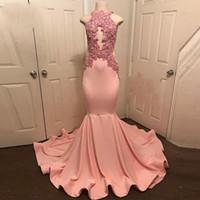 Abiye Peach-Pink Mermaid Prom Kleider Neckholder Ärmellos Robe De Soiree Partykleid Spitze Appliques Long Abendkleid 2018 Abendkleid