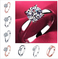 18k 클래식 1.2ct 화이트 골드 도금 대형 CZ 다이아몬드 반지 탑 디자인 4 프롱 여성용 결혼 반지