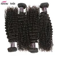 Ishow Wholesale Prix 8A Human Hair Weave Bundles Mink Virgin Brésilien 4 PCS Péruvien Kinky Curly Pour Femmes Tous âges de 8-28 pouces Jet noir