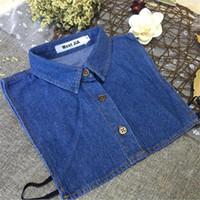 Cuello desmontable de mezclilla para hombre Cuello falso Tamaño L XL XXL Blue Classic Jeans Camisa Collars grandes Todo Matching Adulto Unisex