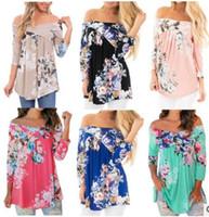 Frauen-Sommer-Strand-Kleid Art und Weise böhmische Boho-Blumen-Druck weg von der Schulter-Kleidern Lässige Vintage Women Plus Size Kleider kurz